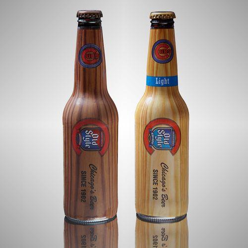 Beer bottles that look like wooden baseball bats