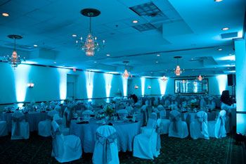tiffany blue uplighting in a hotel ballroom diy and get the look for your event