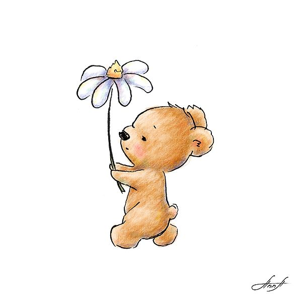 Baby Bear With Flower By Anna Abramska Cute Easy Animal Drawings Cute Bear Drawings Mini Drawings