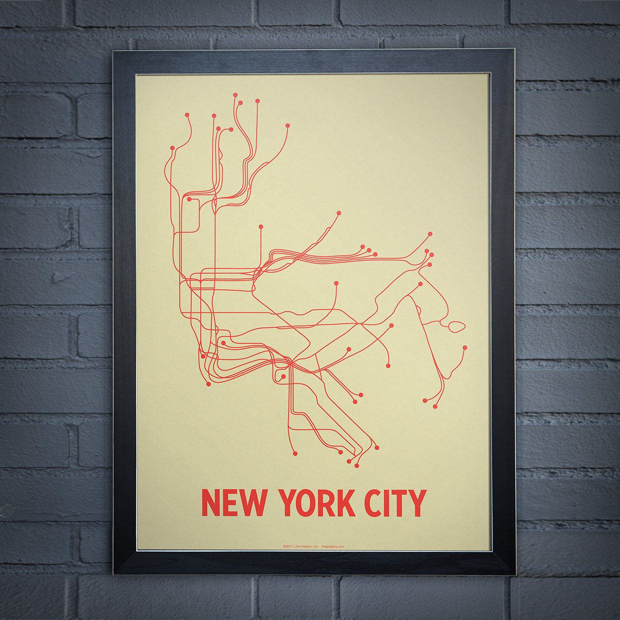 NYC Screen Print Grn & Orng - Lineposters