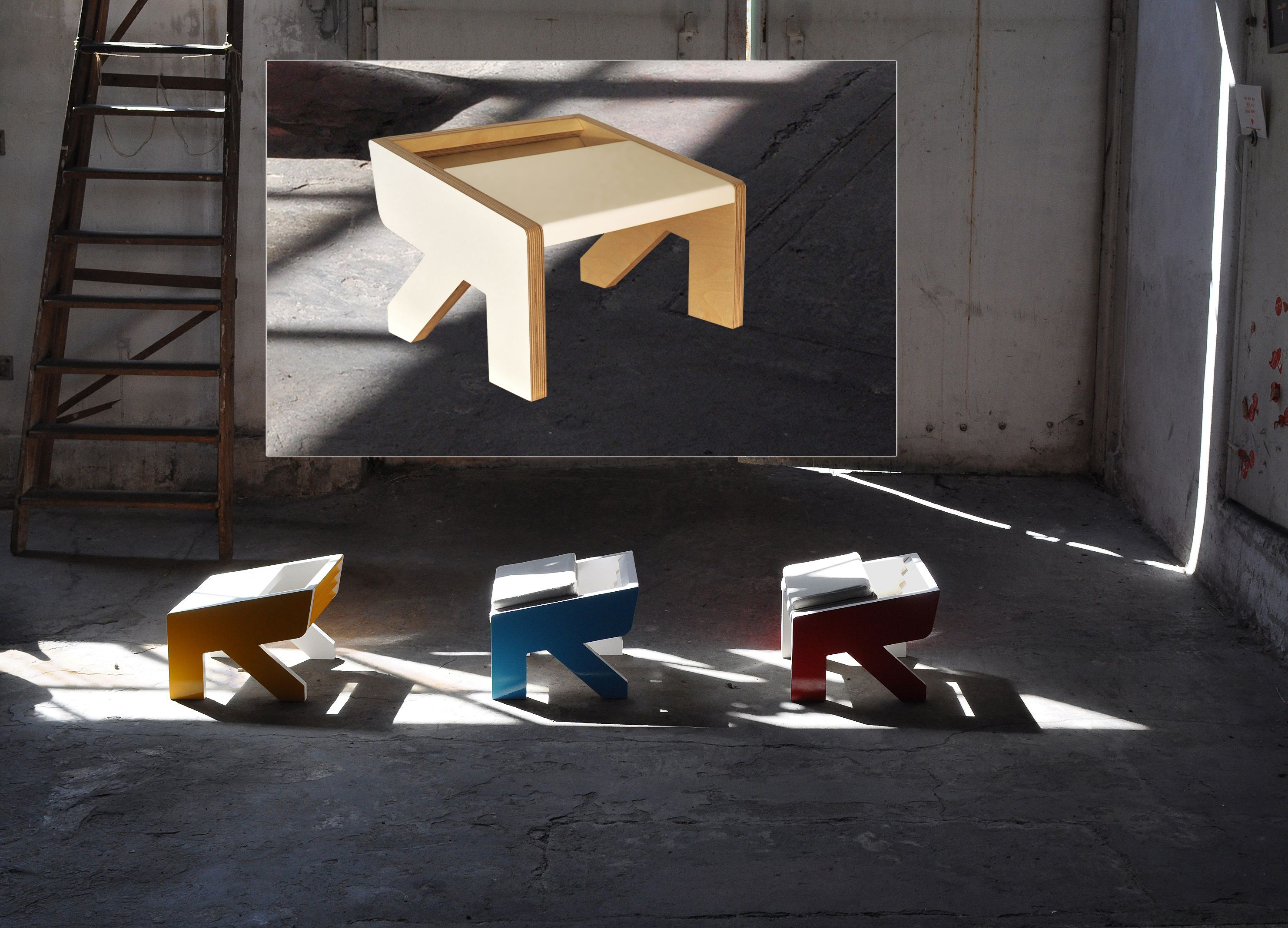 A little stool NoBigThink, catchy with nice colors for kids and grownups.