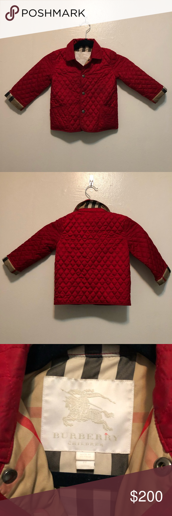 9ba274d76827 Burberry Girls  Red Diamond Quilted Jacket Beautiful jacket from Burberry  for a toddler girl!
