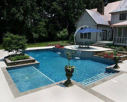 Fiberglass pool with tanning ledge google search for Pool design with tanning ledge