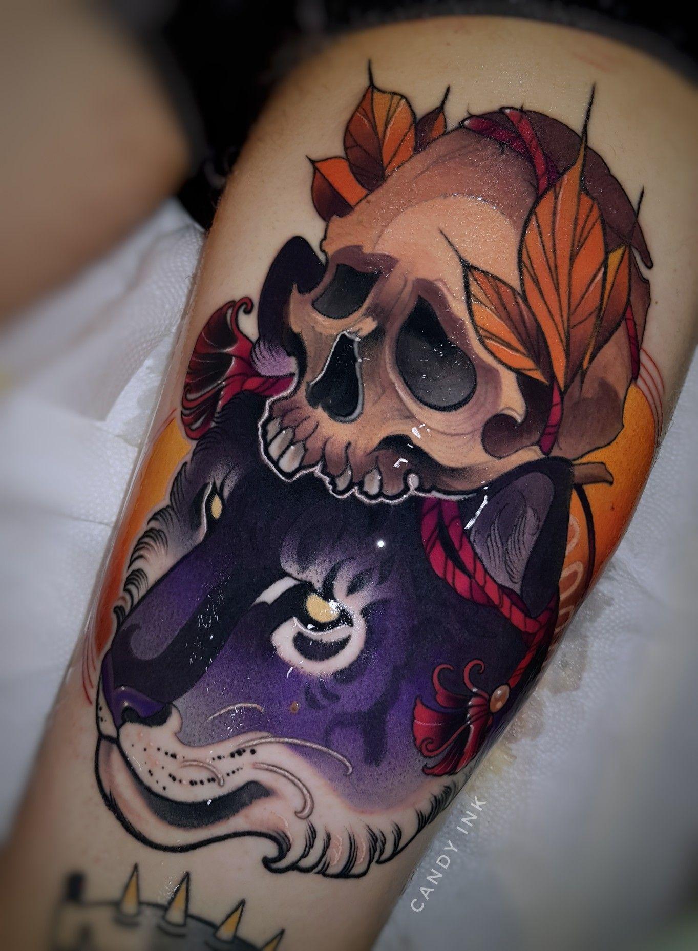 Purple Tiger New School Tattoo School Tattoo Tattoo Designs
