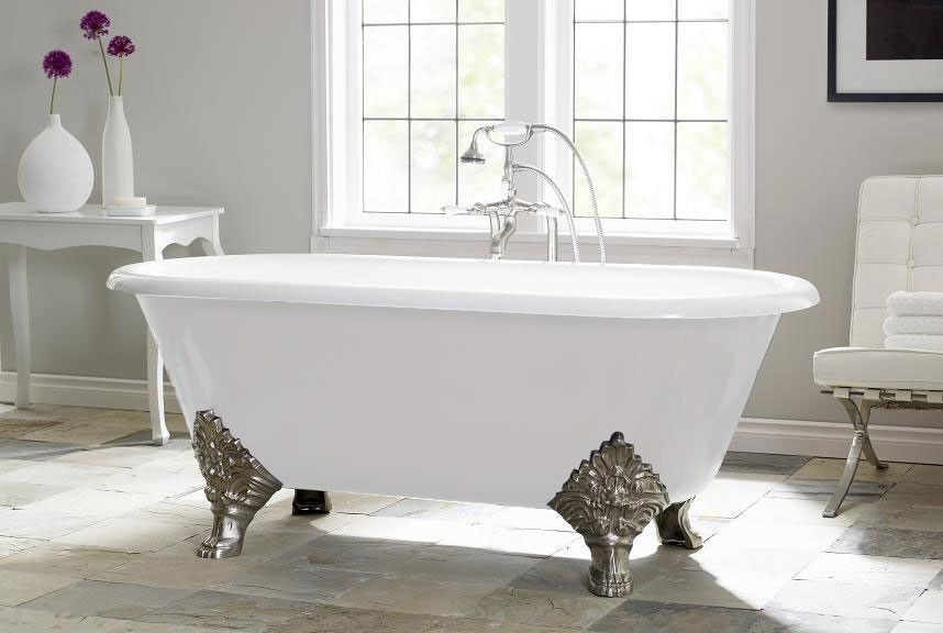 Carlton 70 Inch Cast Iron Double Ended Clawfoot Tub 7 Inch Rim