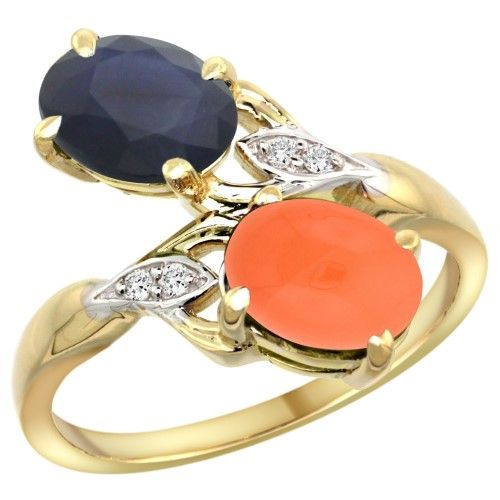 14k Yellow Gold Diamond Natural Australian Sapphire & Orange