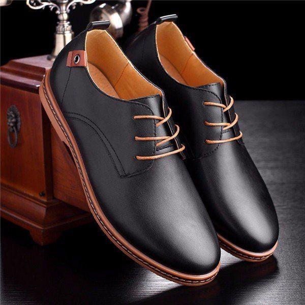 Mens Business Dress Leather Shoes Flat European Casual Oxfords Lace Up Plus Size
