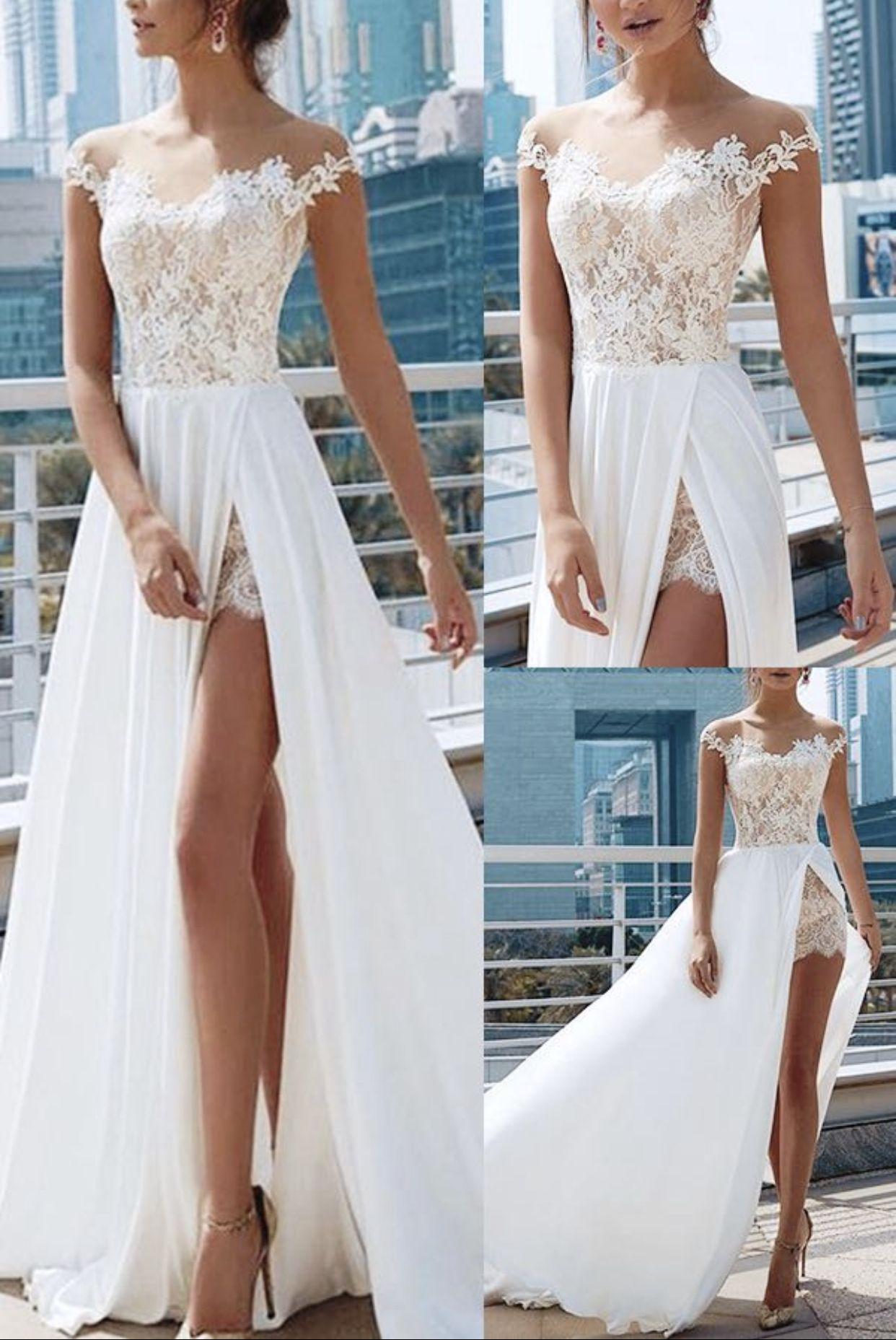 Illusion Neck Split Front Lace Beach Wedding Dress 2021 Lace Beach Wedding Dress Wedding Dresses Whimsical Beach Wedding Dress