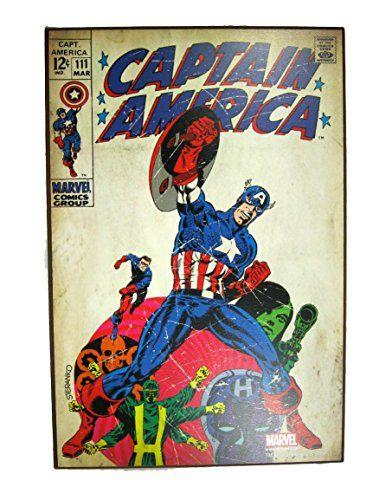 Silver Buffalo Marvel Comics Captain America Wood Wall Art 19 X 13
