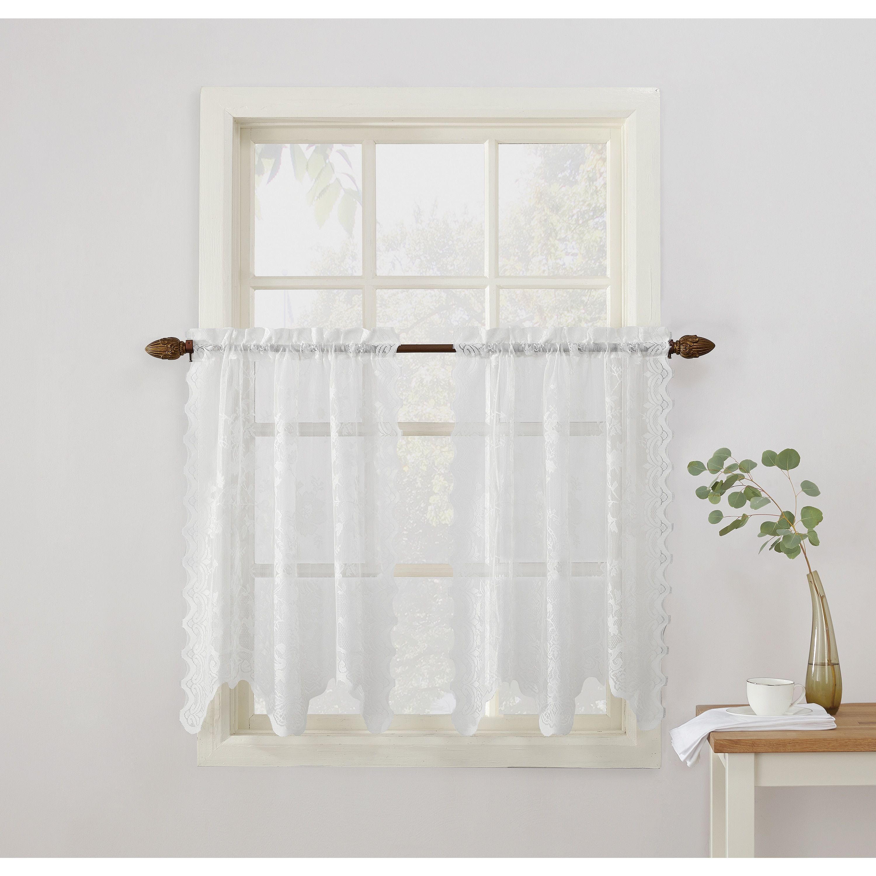 No alison sheer lace elongated kitchen curtain tier pair