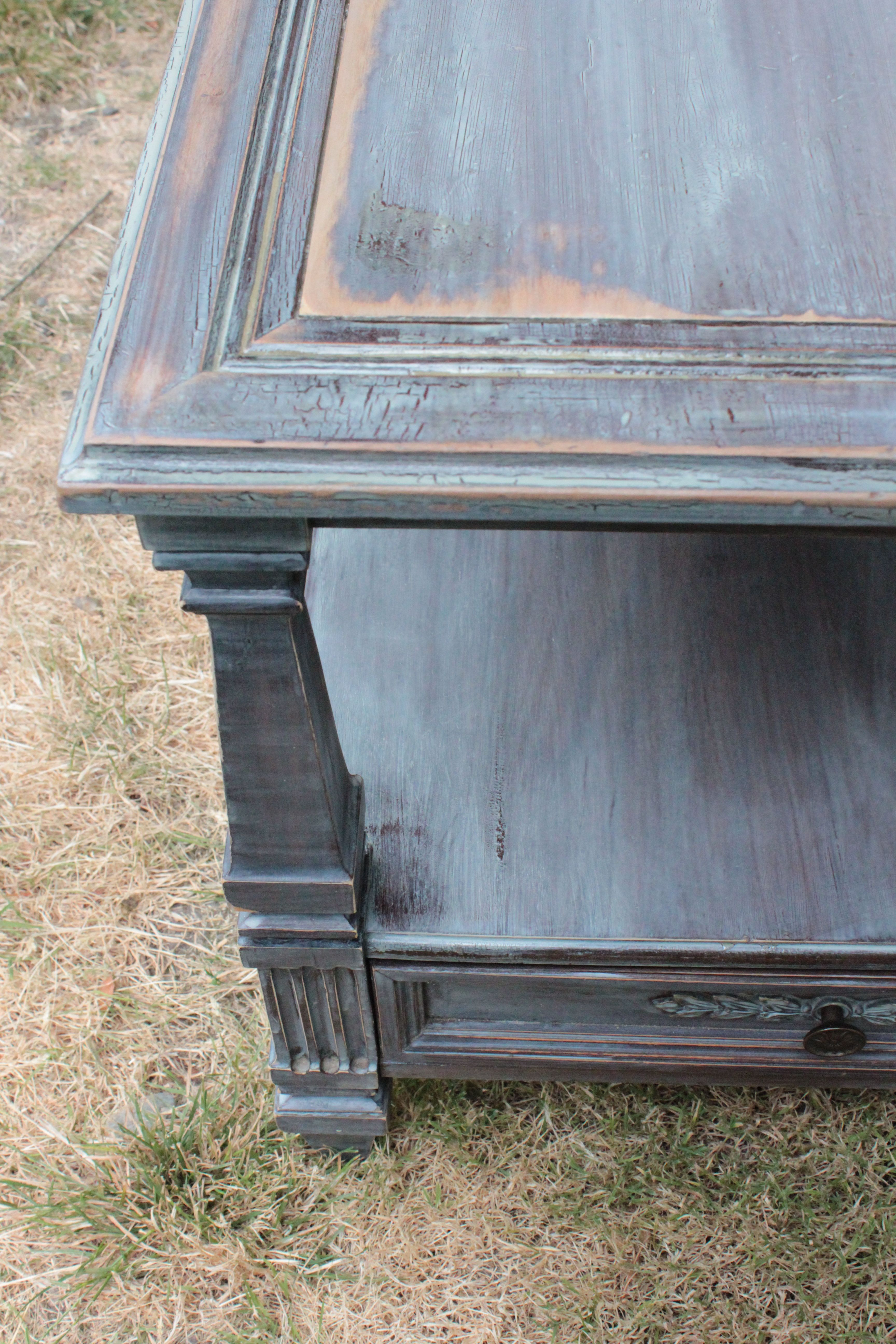 Weathered antique end table I sanded it down unevenly and added a