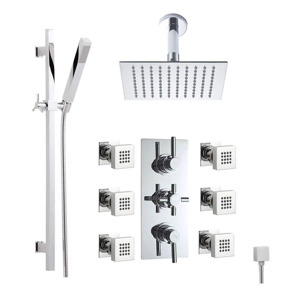 Superb Thermostatic Shower System With Ceiling Arm, Slide Rail Kit U0026 Body Jets