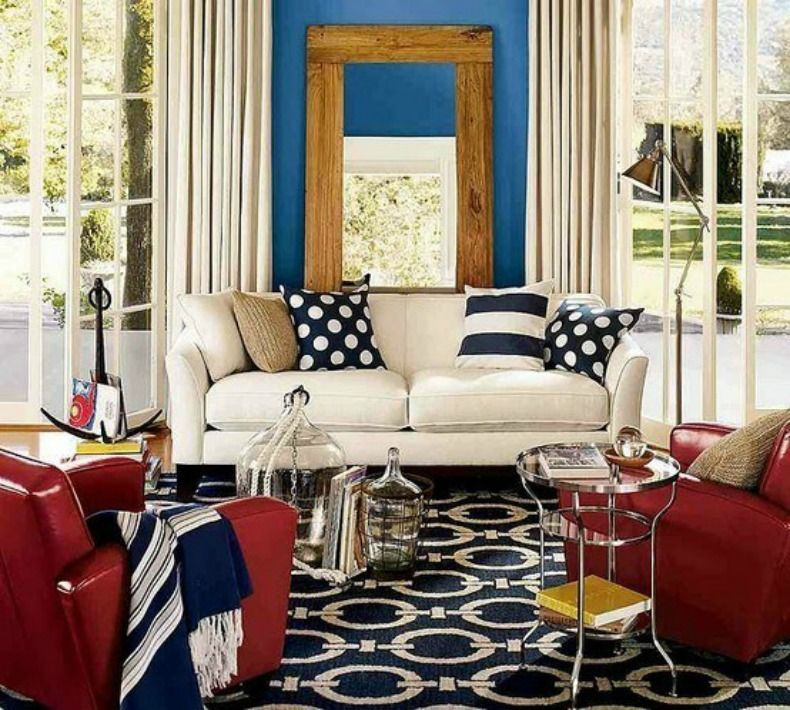 Formal Living Furniture Ideas Love The Leather Chairs Coastal Home Inspirations On The Horizon Rooms Wi Living Room Red Home Room Design Blue Living Room #red #white #and #blue #living #room