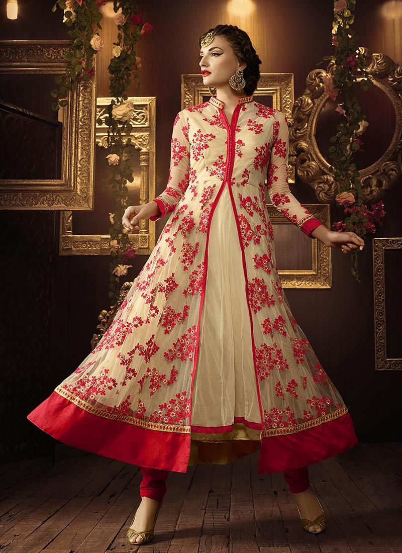 Red heavy bridal anarkali frock 7 suitanarkali in - Buy Cream And Red Color Netted Party Wear Anarkali Salwar Kameez In Uk Usa And Canada