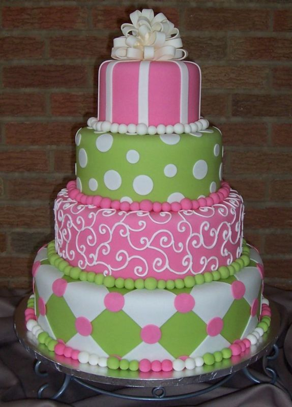 Pink And Green Show Cake Crazy Cakes Cake Cupcake Cookies Cake