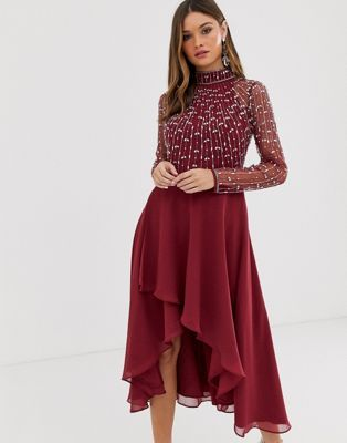 DESIGN midi dress with linear embellished bodice and wrap skirt