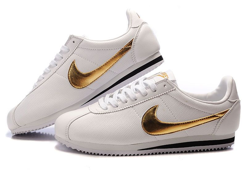 sold worldwide elegant shoes lowest discount Authentique Nike Cortez Peau Blanc Or Homme | Nike Air Max ...