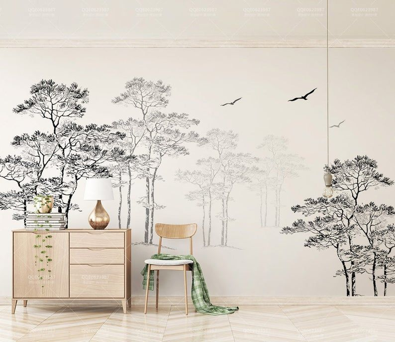 3d Noir Blanc Abstrait Foret Oiseaux Fond Decran Amovible Etsy In 2020 Wall Wallpaper Traditional Wallpaper Black And White Abstract