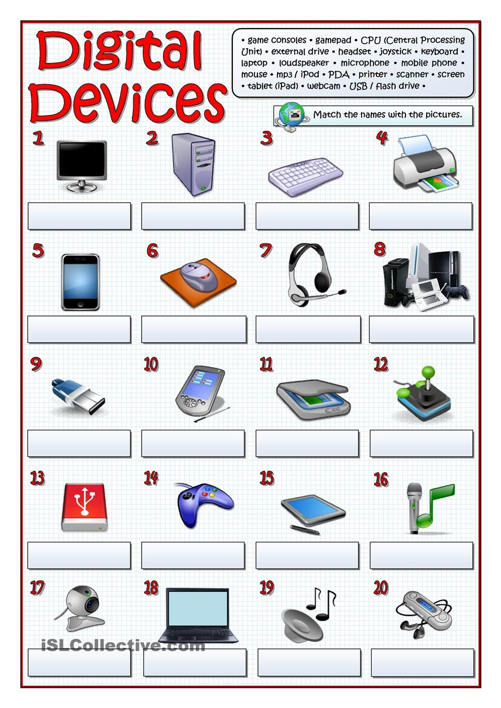 Worksheets Computer Technology Worksheets digital devices vocabulary pinterest computer lab here you are another worksheet this one introduces the twenty most common that everybody usually uses key incl