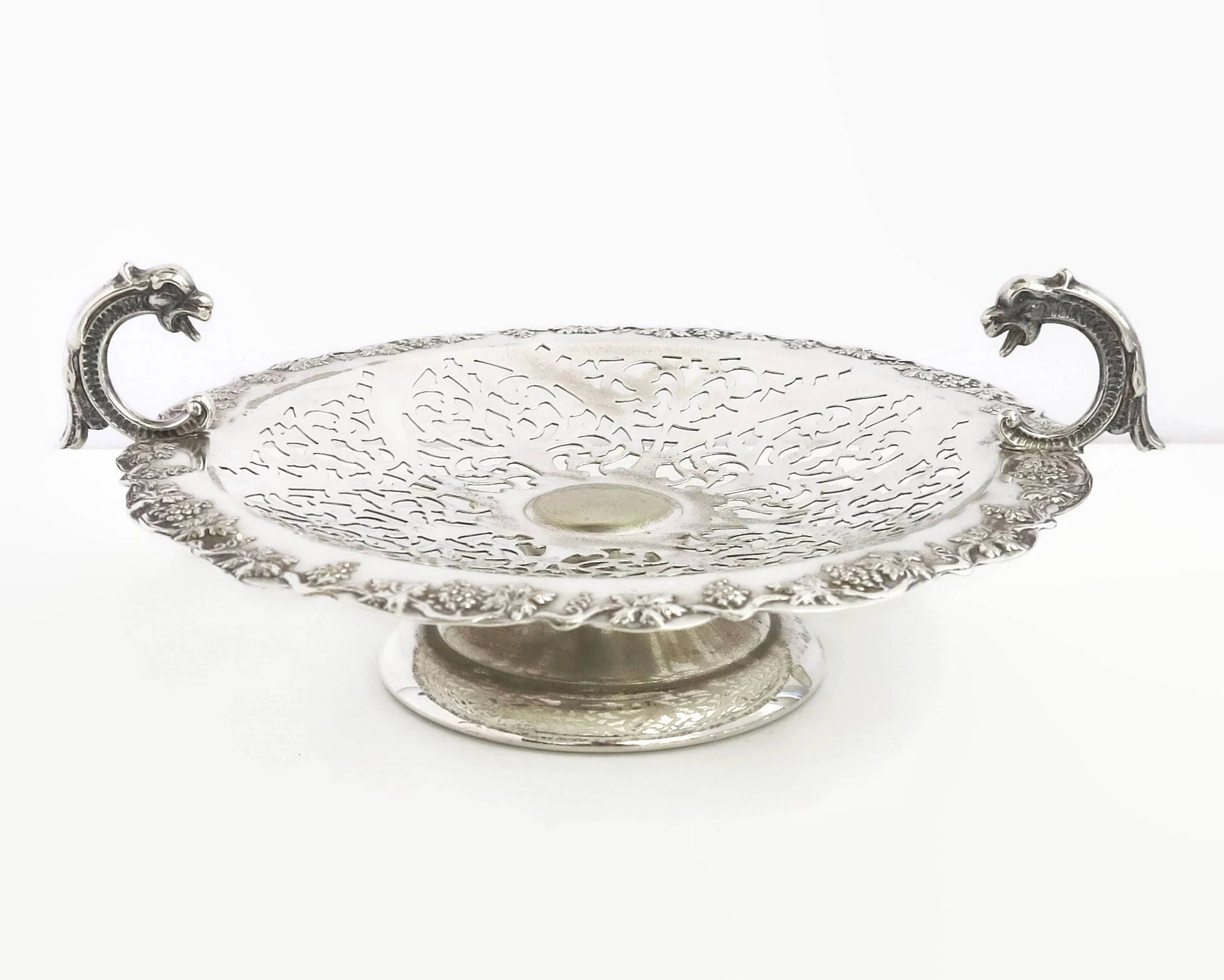 Mid century silver plated cake stand border of grapes and leaves