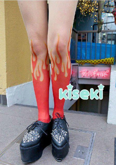 d2e5220430b Tattoo Tights Pantyhose Stockings Flame Fire Harajuku Japanese Fashion