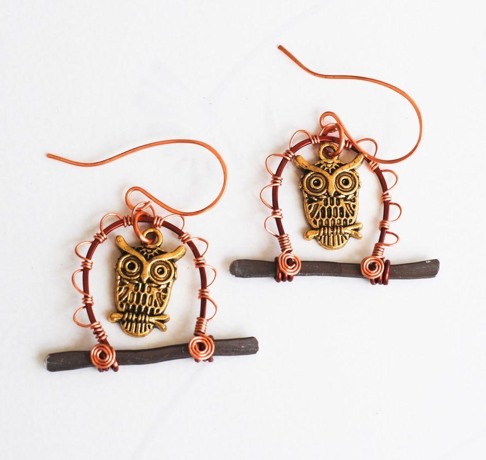 Lucky Golden Owl In Your Garden Unique Wire Wrap Art Earrings ...