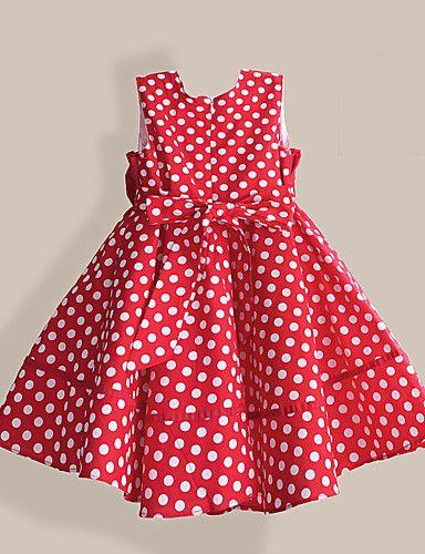 a96a7c6044 Vestido Chica de Casual Diario Lunares Algodón Sin Mangas Primavera Verano