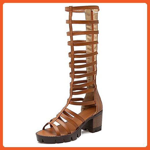 13059f66e2 Womens Knee High Caged Gladiator Strappy Chunky Mid Heels Sandals - Sandals  for women (*Amazon Partner-Link)