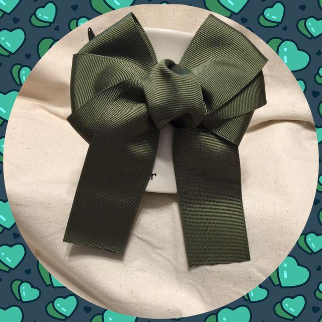 トリプルリボン 深緑バージョンのヘアゴム | ハンドメイドマーケット minne