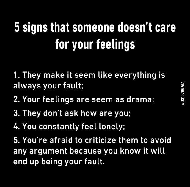 5 signs that someone doesn't care about your feelings.