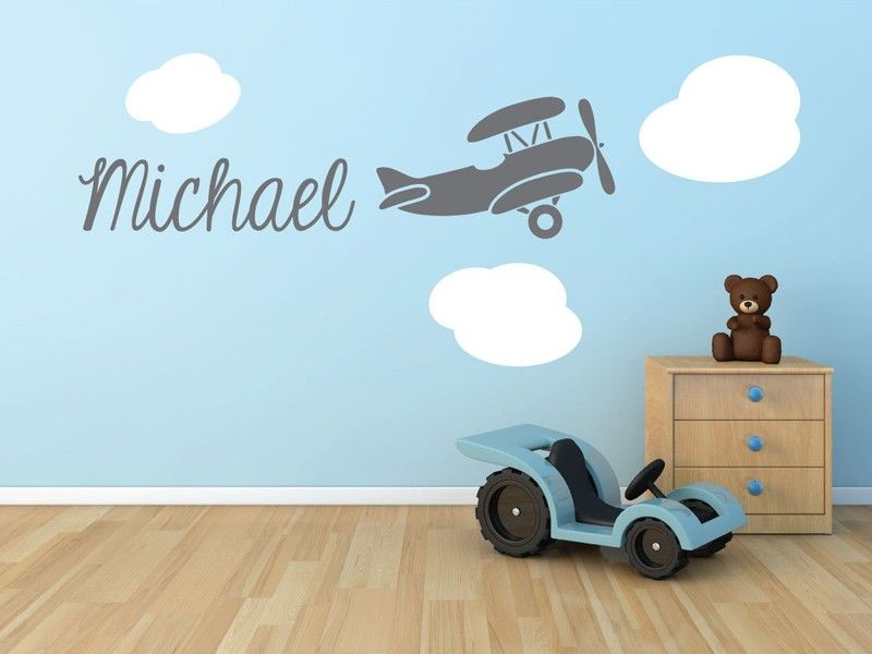 Biplane Airplane Monogram Name Vinyl Wall Decal