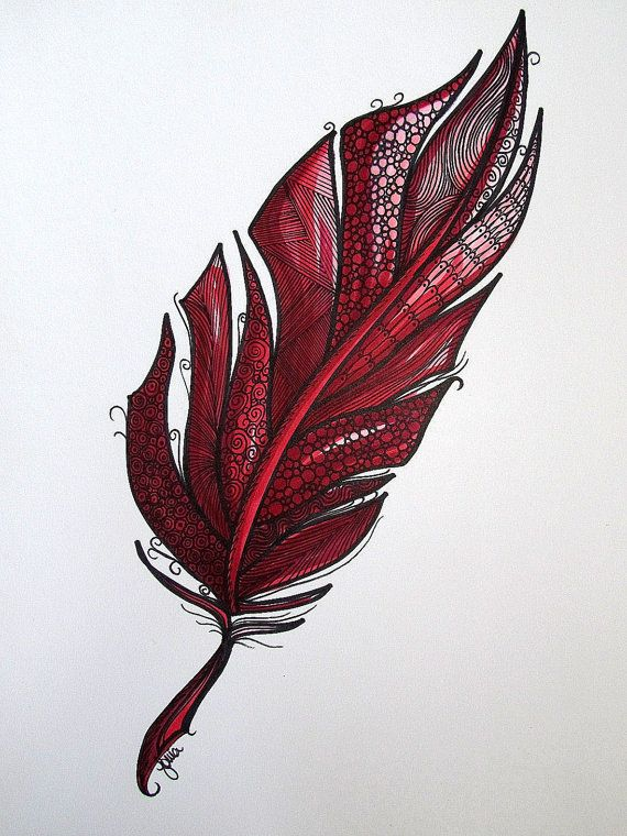 Red Feather art print ink and watercolor pencils. by SOKAart