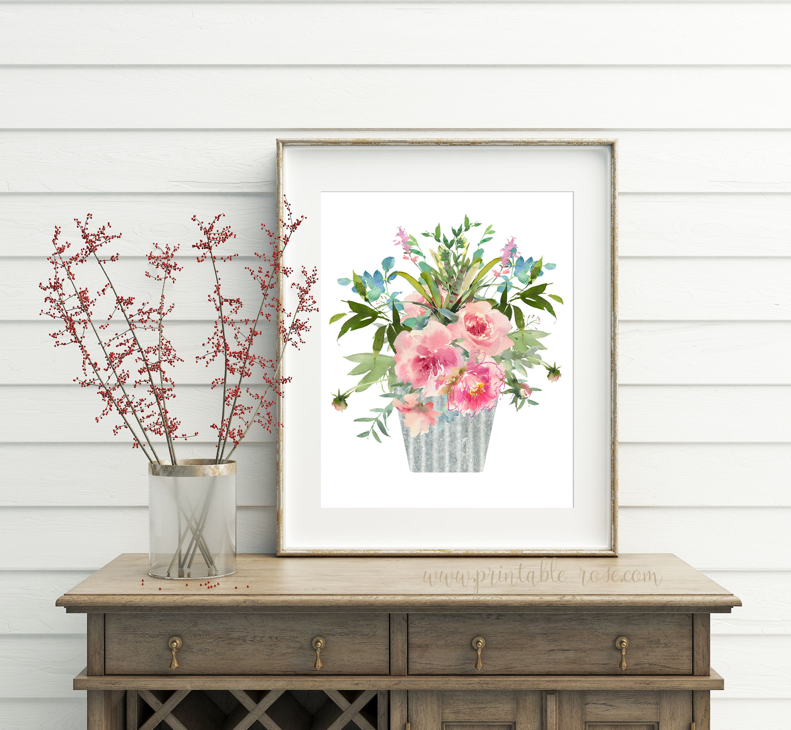 Floral Wall Art Flower Printable Bathroom Wall Decor French