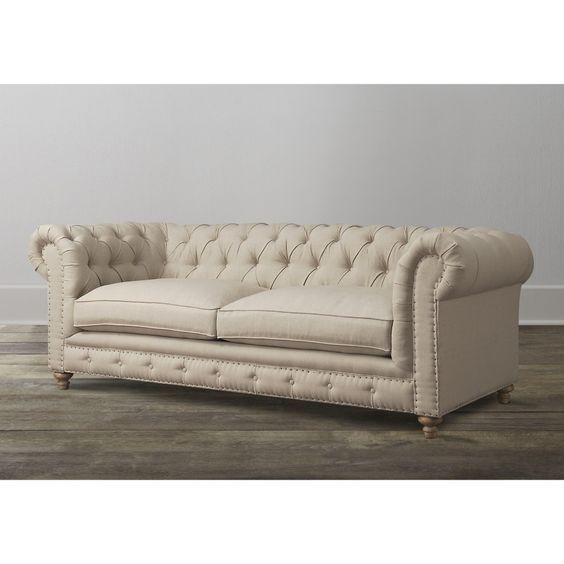 Furniture Beige Leather Tufted Chesterfield Sofa With Brown