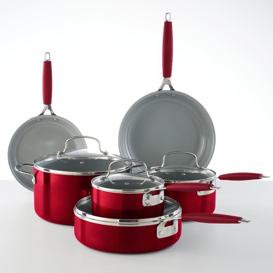 Food Networka 10 Pc Ceramic Cookware Set Red Cookware Set Copper Cookware Set Food Network Recipes