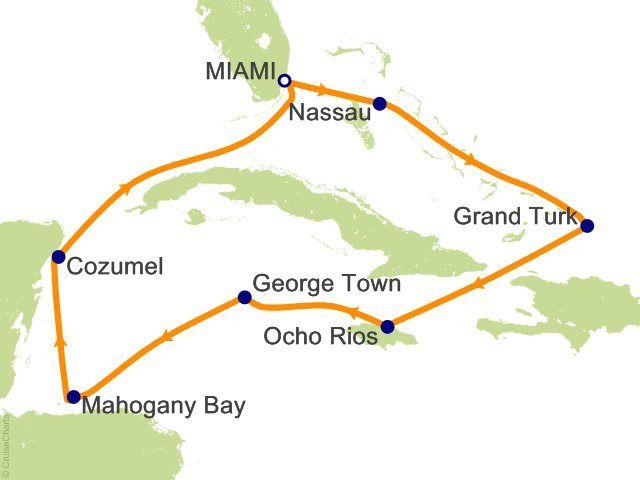 10 Night Florida  Bahamas  Jamaica  Cayman Islands  Honduras  Mexico Cruise from Miami