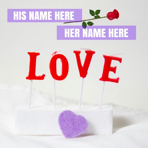 I Love You Romantic Greeting Card With Love Couple Name Print