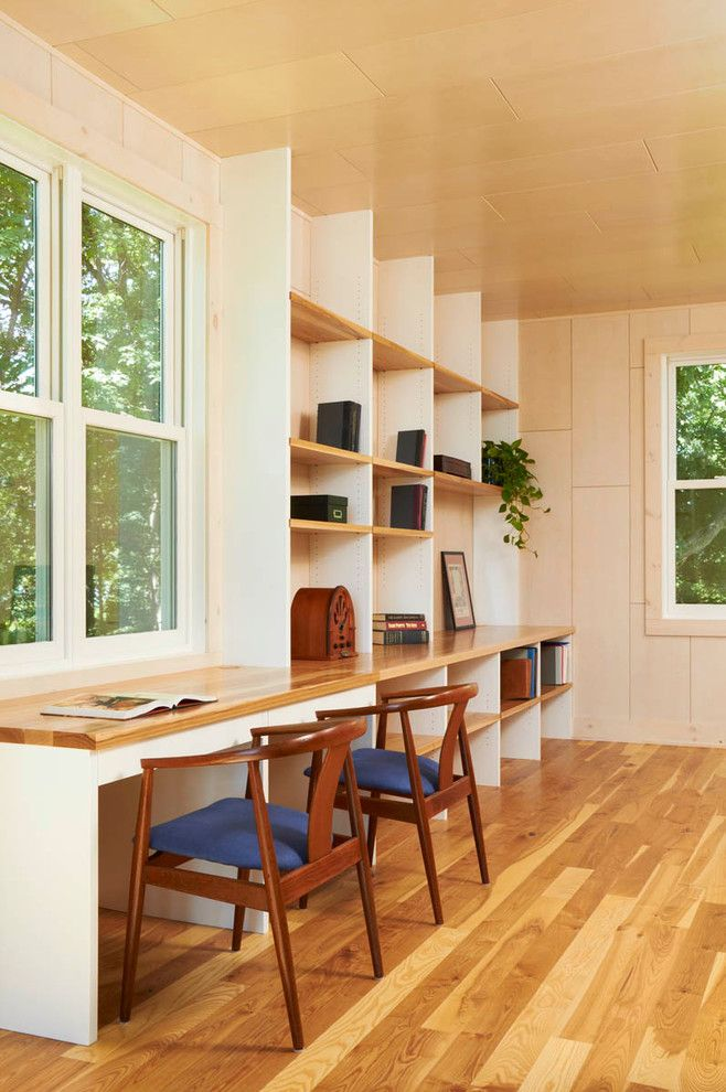 Butcher Block Desk Home Office Modern With Bentwood Chairs Workspace  Bookcase Bookshelves Built In Shelves