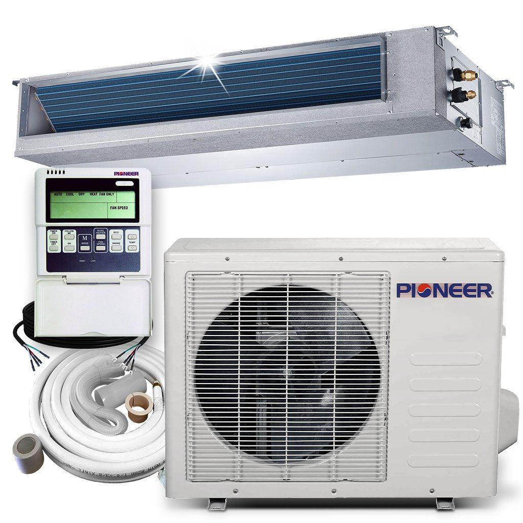 Pioneer 9 000 Btu 20 5 Seer Ceiling Concealed Ducted Mini Split Air Cond Heat Pump System Full Set Heat Pump System Heat Pump Heating Systems