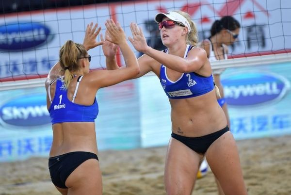 Plummer And Mirkovic Fall In The Semifinals Of Fivb Event News Palo Alto Online Beach Volleyball Volleyball Workouts Fivb Beach Volleyball