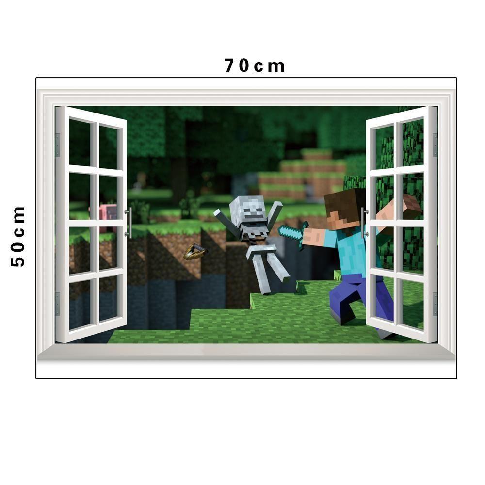 11D Minecraft Vinyl Wall Sticker Decal Cling Steve Sword Skeleton