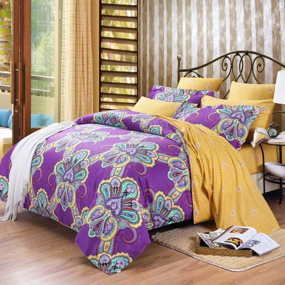 Purple And Yellow #Bedding #Bedspread #Bedroom Sets