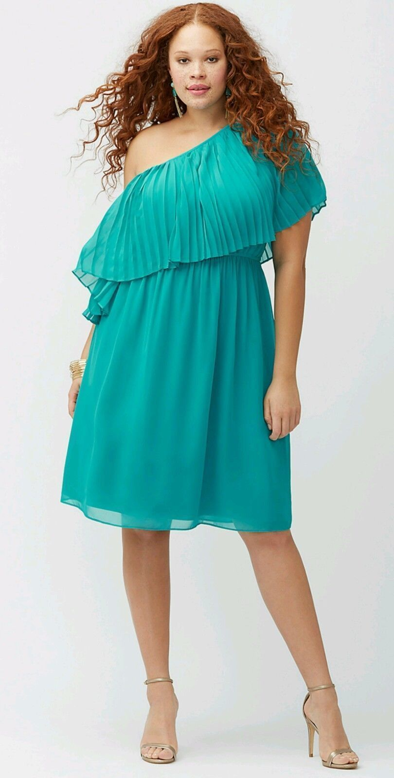 Lane Bryant 14/16 Teal Green Off One Shoulder Pleated Chiffon Dress ...