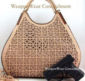 Concealment Purse Laser Cut Out Pattern and Unique Style in Beige Conceal  #29