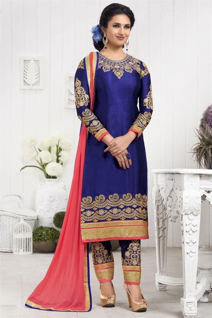 Online Shopping of Divyanka Tripathi Long Length Blue Suit ...