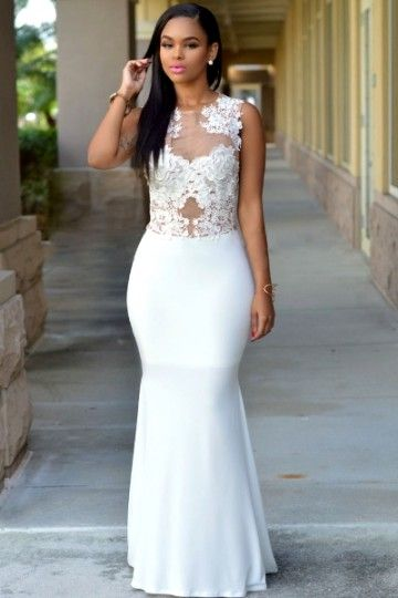 Longue robe blanche pas cher