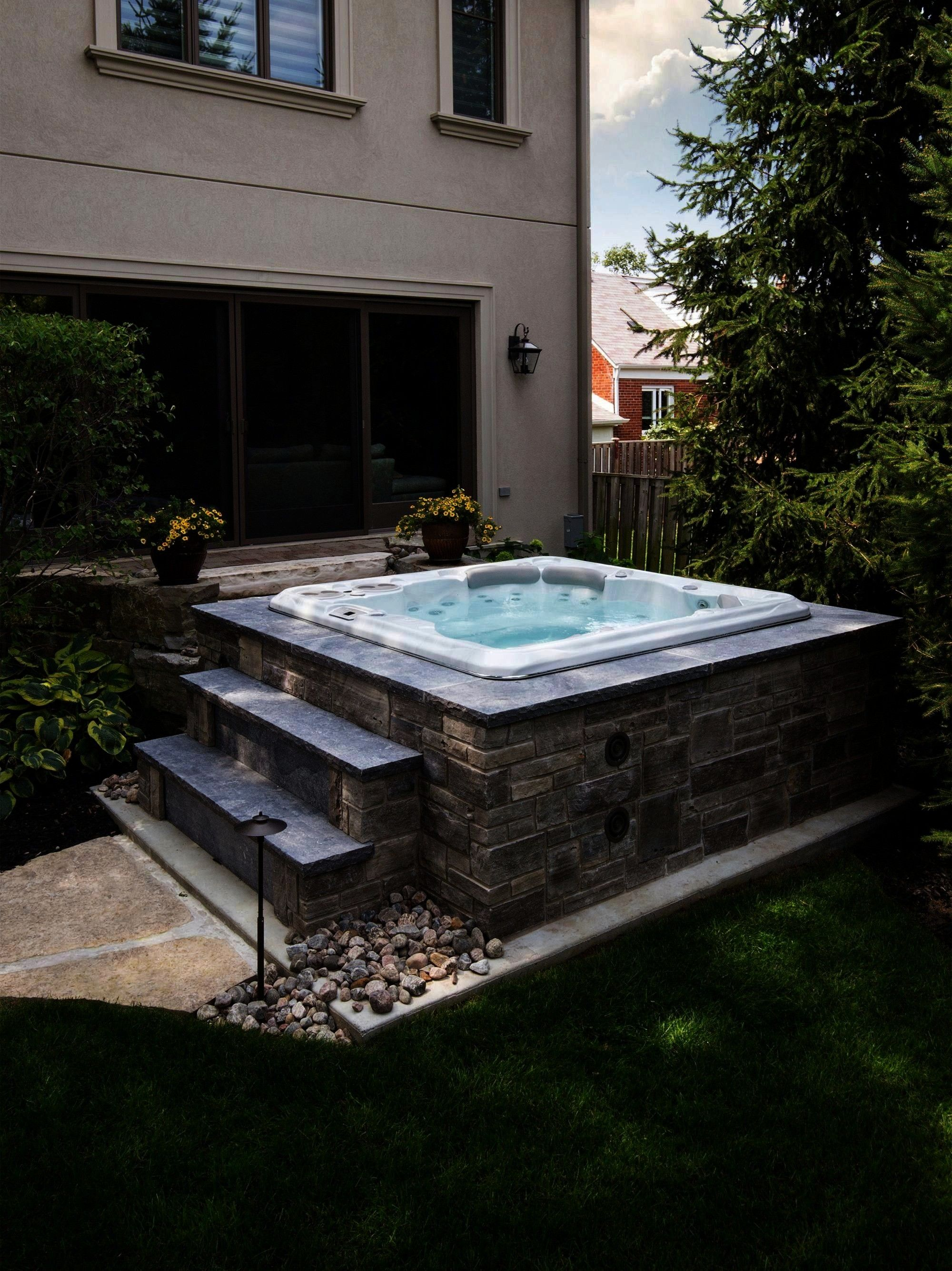 Hot Tub Install Just because a hot tub is installed above ground doesnt mean that it has to look cheapJust because a hot tub is installed above ground doesnt mean that it...