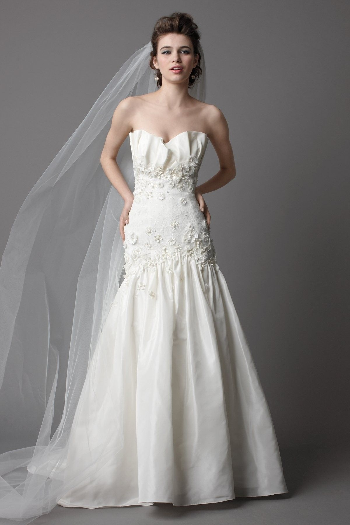 Lace Crumb Catcher Wedding Dress