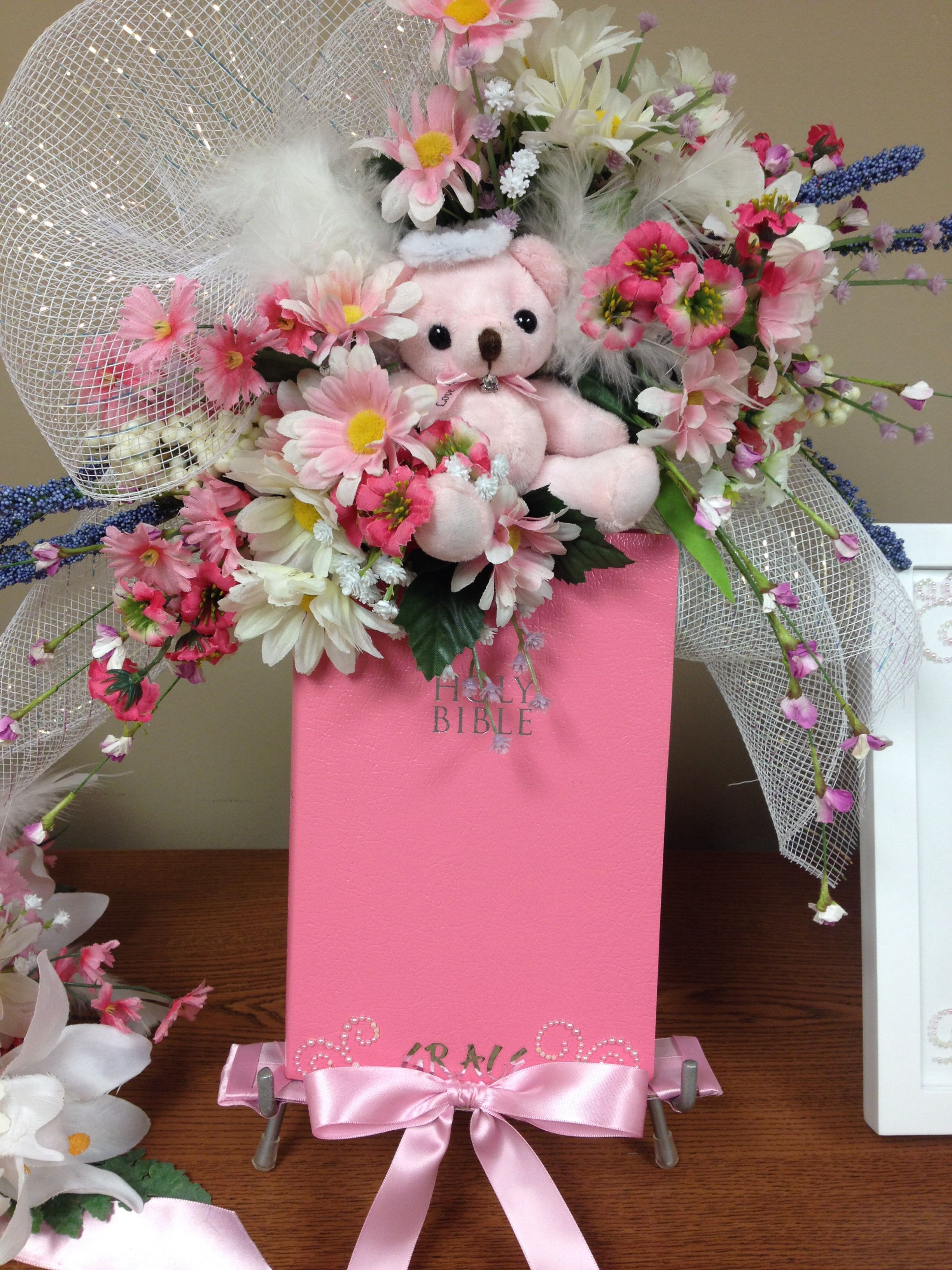 Infant funeral spray easel with holy bible angelas flowers infant funeral spray easel with holy bible izmirmasajfo