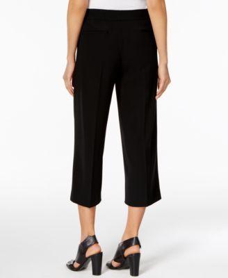 Dkny Cropped Wide-Leg Pants - Black 10